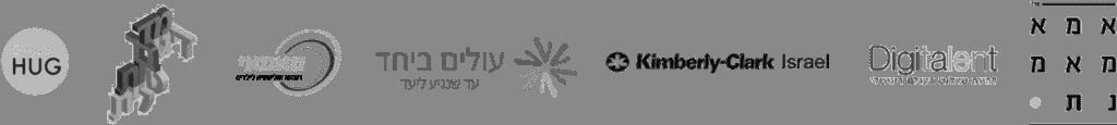 לוגואים של חברות להם מורן הרצתה: אמא מאמנת, מדברות דיגיטלית, קימברלי קלארק, גרופהאג, עולים ביחד, מאמי, דיגיטלנט